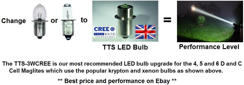 tts maglite 3w cree led bulb upgrade for 3d 4d 5d 6d or c. Black Bedroom Furniture Sets. Home Design Ideas